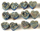 2 Pieces Rainbow Titanium Heart Calibrated Druzy Agate Cabochon 14x14mm B13DR7994