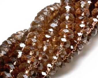 Micro Faceted Smoky Quartz 7.5X5mm Rondelle beads 1/3 strand 5.0 inches 233646