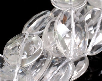 5 pcs Faceted Rock White Crystal 20X15mm Oval beads 233731