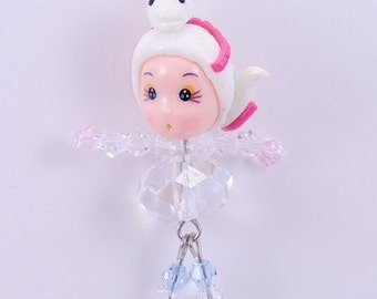 Cute Girl with Snake Hat Handmade Fimo polymer clay with  Czech Glass Cell Phone Strap