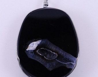 Wire wrap black agate druzy BH1S139909