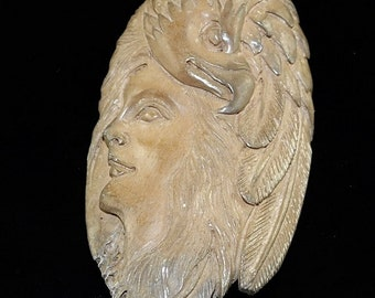 Hand carved bone Eagle Spirit B3BO56