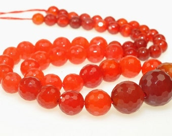 Carnelian Faceted Round beads full strand 16.5 inches LB1687