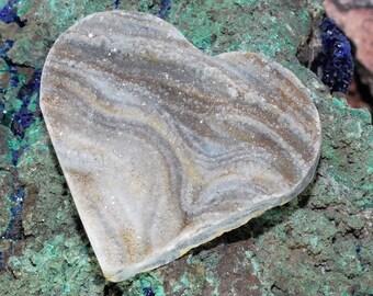 Unique Heart Shaped Brazilian Chalcedony Druzy Cabochon J13B7394