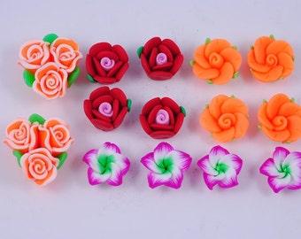 Handmade Fimo polymer clay flower bead Set of 14 pcs FM750