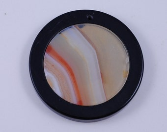 Stripe Agate and Black Onyx Intarsia pendant bead G1S139631