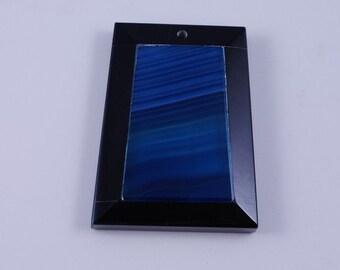 Blue Stripe Agate and Black Onyx Intarsia pendant bead G1S139656