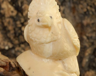 Hand carved Old Tagua Palm Ivory Bird Figurine TN9548