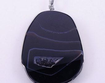 Wire Wrap Black Agate Druzy BH1S139922