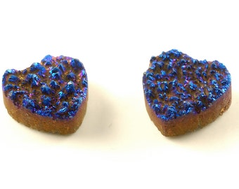 2 Pieces blue Heart/ love Calibrated Druzy Agate Cabochon B28DR8223