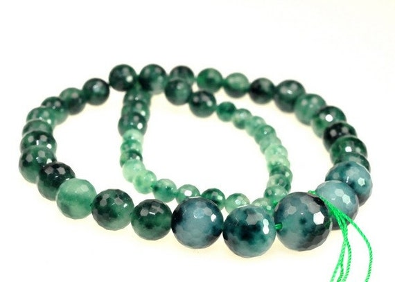 Unique Green Sea Spot Faceted Round beads full strand 16.5 inches LB1673