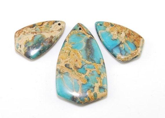 3 pieces Sea Sediment Jasper  pendant bead Set SP8507