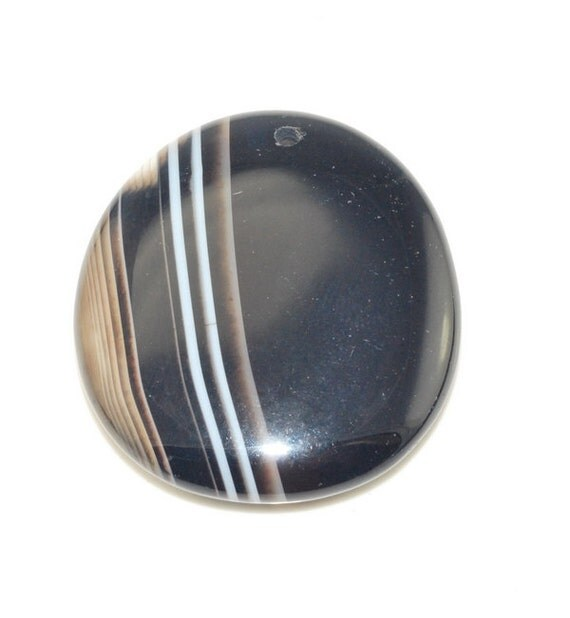 Black Stripe Agate pendant bead BSA141625