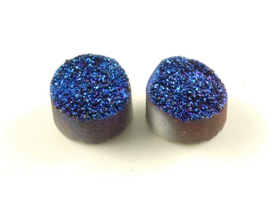 2 Pieces Blue Round Calibrated Druzy Agate Cabochon B13DR8160