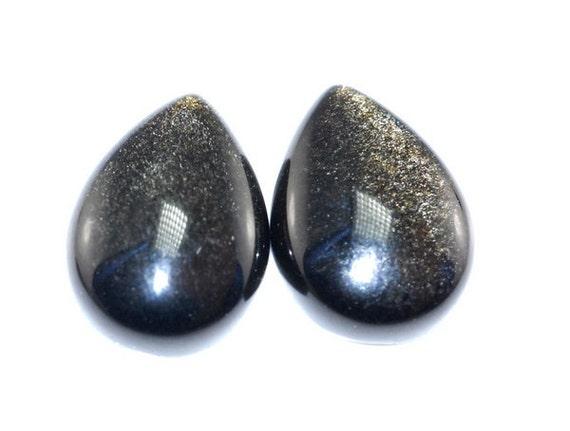 1 Pair AA Golden Sheen Obsidian Cabochon K1B4603