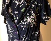 Vintage 40s rayon printed day swing dress sz L