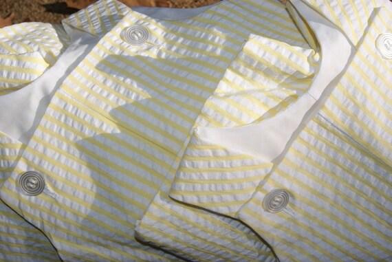 Spring Summer 2012 Baby Boy Romper Shortall Yellow White Seersucker