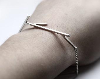 Sticks 01 - silver twig bracelet - sterling silver geometrized twig bracelet