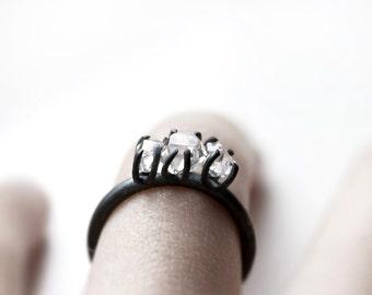 Three - herkimer diamonds oxidized silver ring - natural herkimer diamonds oxidized sterling silver ring - minimalist engagement ring
