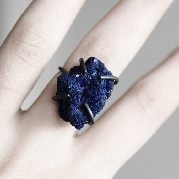 Deep . oxidized sterling silver royal blue azurite ring