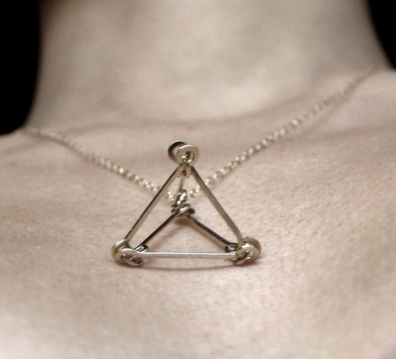 3D triangle . gold filled pyramid necklace