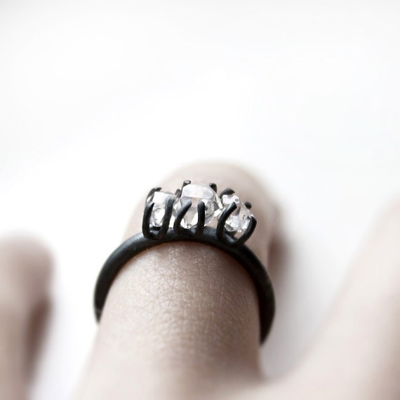 RESERVED Three . herkimer diamonds oxidized sterling silver ring