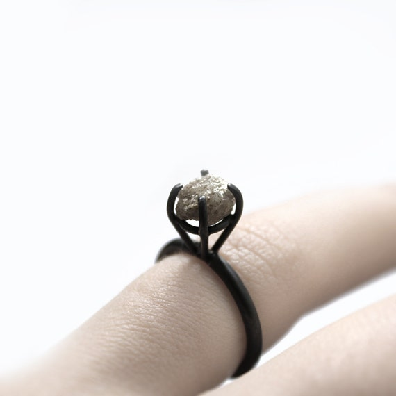 RESERVED Eye II . rough diamond oxidized sterling silver ring