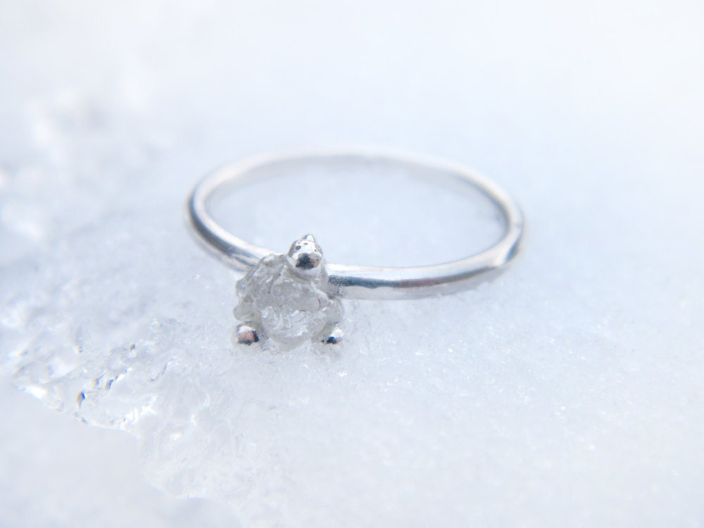 Items Similar To Rough Diamond Ring. Sterling Silver Ring