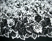 Remnant--Black and White Floral Border Print Cotton Fabric with Stretch--2 & 3/8 Yard