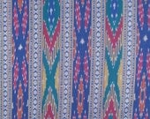 SPECIAL--Royal Teal and Red Ikat and Dobby Weave Pure Cotton Fabric--One Yard