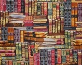 Library Books Print in Reds and Gold Pure Cotton Fabric--One Yard