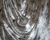 SPECIAL--Ivory with Black Line Drawing Floral Print Polyester Charmeuse Fabric--One Yard