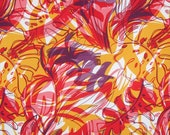 Red and Yellow Gold Tropical Print Rayon Faille Fabric--One Yard