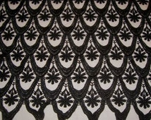 Jet Black Floral Geometric Pattern Guipure Lace Fabric--One Yard
