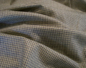 SPECIAL--Wool Tattersall Check Fabric in Olive Navy and Ivory--One Yard
