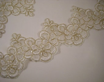 REMNANT--Winter White and Gold Beaded Embroidered Organza Lace Trim--One Yard