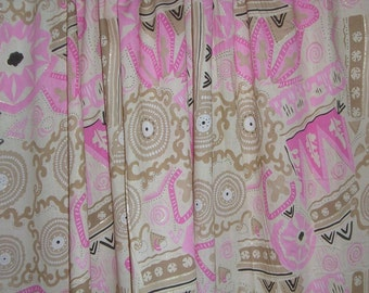 REMNANT--Pink and Coffee Abstract Print Cotton Lawn  Fabric--22 INCHES