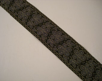 Floral Metallic Jacquard Trim in Blue and Black--One Yard