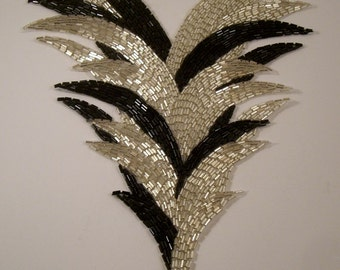 Very Large Black and Silver Triangular Beaded Applique--One Piece