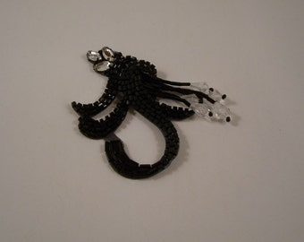 Small Black Beaded Appligue with Stones--One Piece