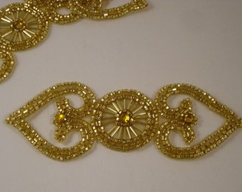 Gold Beaded Double Heart Applique with Stones--One Piece