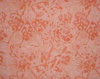 Peachy Orange Floral Batik Cotton Fabric One Yard