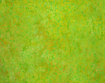 Apple Green and Yellow Batik Cotton Fabric--One Yard