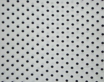 Black on White Polka Dot Print Pure Cotton Fabric-One Yard