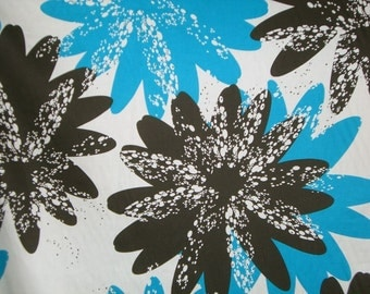 SPECIAL--Brown and Turquoise Floral Print Silk and Cotton Fabric--One Yard