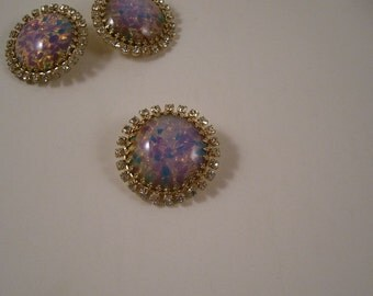 Fire Opal and Rhinestone Button--One Piece