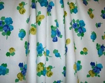 Blue and Green Floral Print Cotton Pique Fabric--One Yard