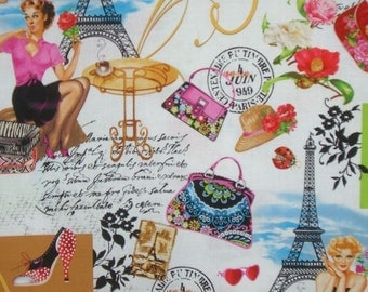 J'aime Paris Print Cotton Fabric from Timeless Treasures--One Yard