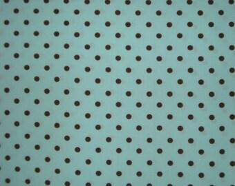 Aqua and Chocolate PolkaDot Print Pima Cotton Fabric--One Yard