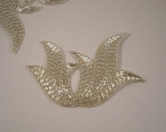 Large Silver Beaded Deco Design Applique--One Piece